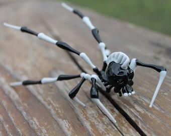 The Skull Spider Glass Spider Figurine Blown Glass Spider Gothic Skeleton Skull Spider hand blown glass