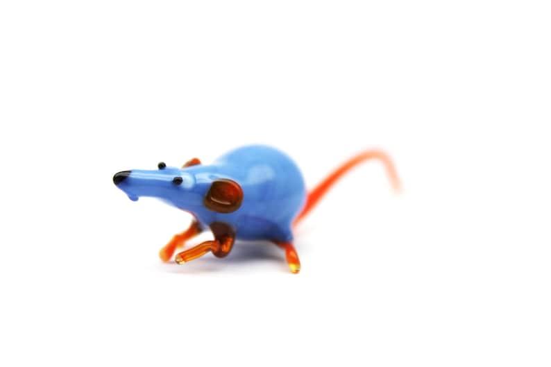 Sculpture Made Of Glass Glass Blown Rat Rat Glass Miniature Art Glass Glass Art Animals Glass Rat