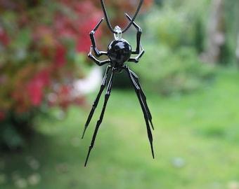 Pendant Spider Animals Glass, Hanging Blown glass Spider, blown glass figurine,  hand blown glass