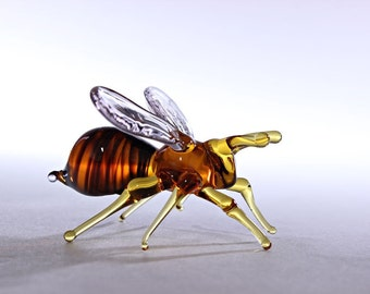 Glass Bee Blown Collectible Figurine honey bee , Animals Glass, Art Glass, Blown Glass, glass sculpture for sale honey bee