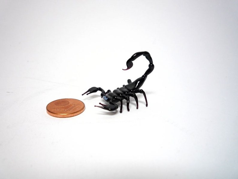 Black Glass Scorpion Figurine Glass Scorpio Scorpion Glass Miniature Black Emperor Scorpion Glass Sculpture glass figurine
