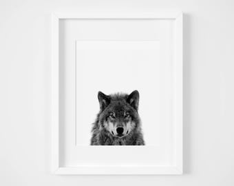 Wolf Black and White Art Print - Animal Print - Instant Download
