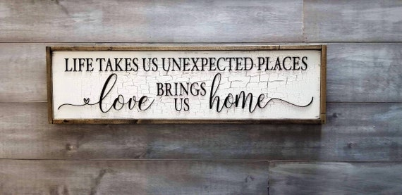 Large Wood Wall Hanging, Love Brings is Home