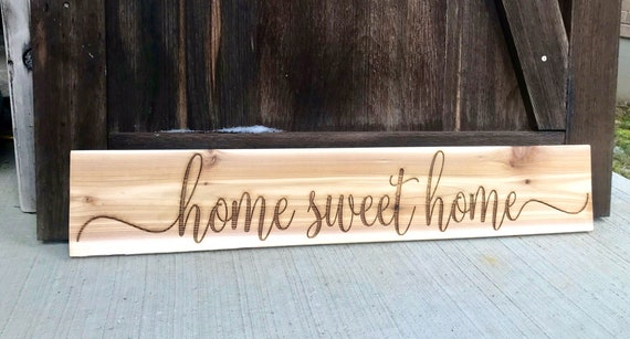 Engraved Cedar Wall hanging Home Sweet Home