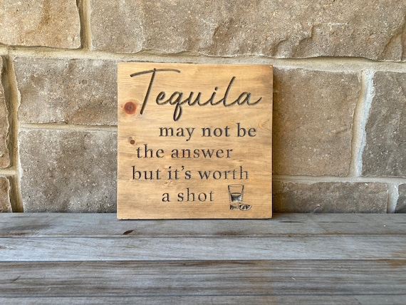 Tequila Carved Wood Wall Hanging