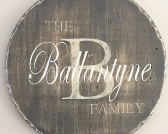 Personalized Wood Sign, Monogram, Family sign