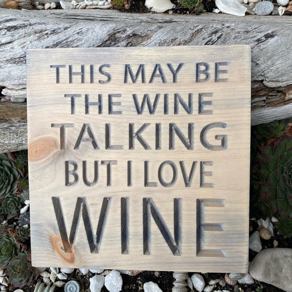 Funny Wine Sign, Carved Wood Wall Hanging