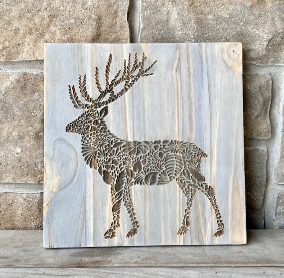 Floral Deer Engraved Wood Wall Hanging