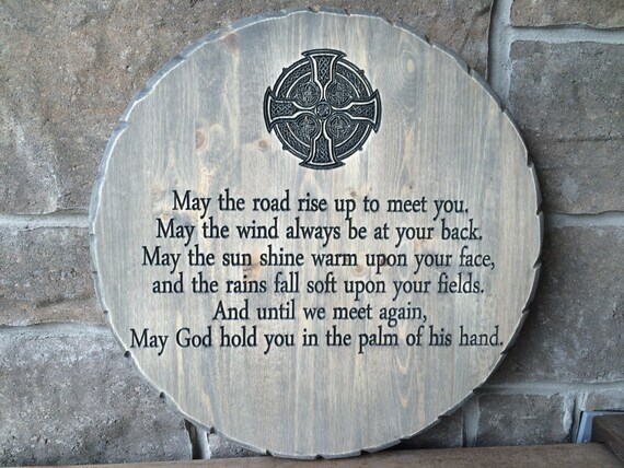 Irish Blessing, Celtic Cross, Carved Wood Irish Blessing