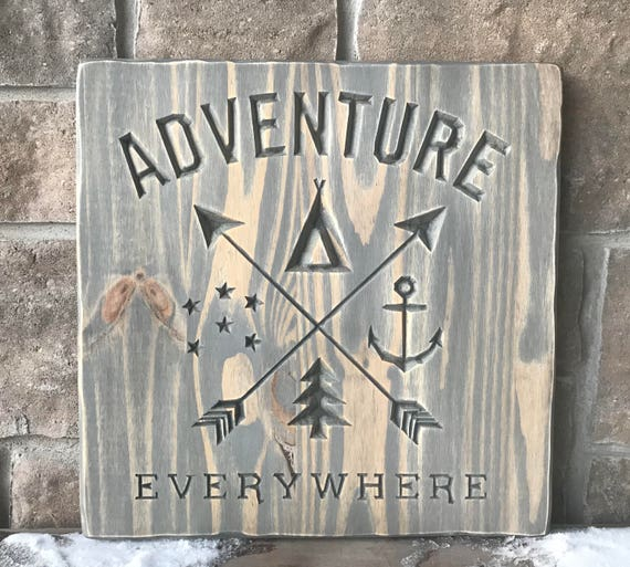 Carved wood wall hanging, adventure everywhere