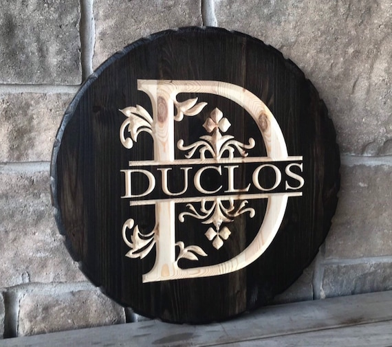 Family Monogram Carved Wood Sign