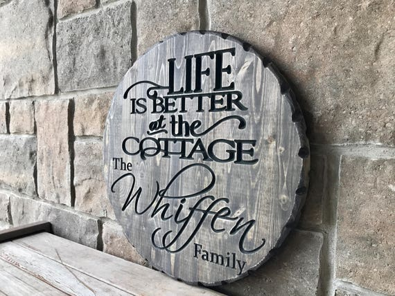 Personalized Carved Wood Cottage Sign