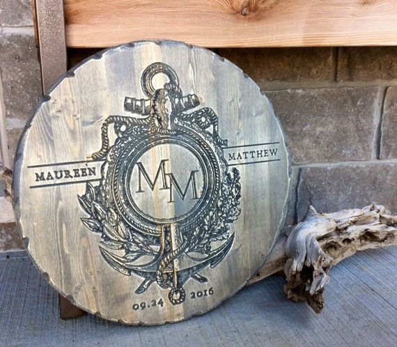 Personalized Monogram Carved Wood Anchor Family Sign, Cottage Decor, Nautical Decor