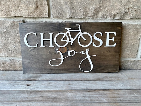 Choose Joy Wood Wall Hanging, Mountain Bike sign, Ready to Ship