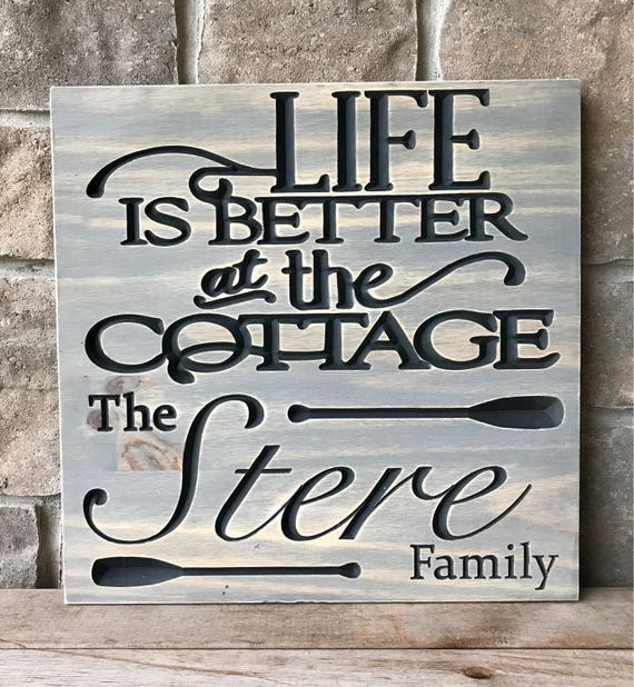 Carved Wood Cottage Sign, personalized
