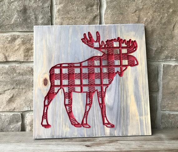 Buffalo Plaid Moose, Carved Wood Wall Hanging