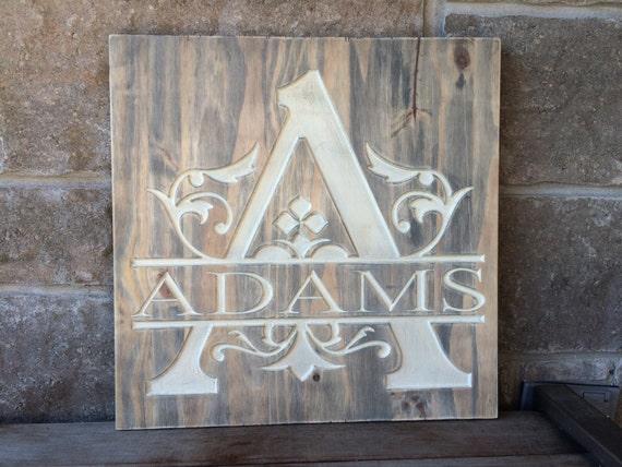 Carved Wood Monogram Family Name Sign, Monogram