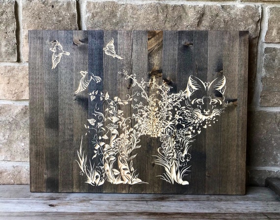 Carved Wood Wall Hanging, Floral Fox and Birds