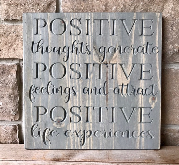 Carved wood Positive Thoughts wall hanging