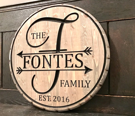 Monogram Carved Wood Signs, Family sign
