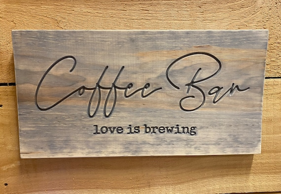 Coffee Bar Carved Wood Wall Hanging