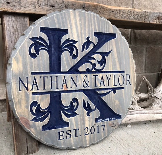 Family Name Monogram Carved Wood Sign