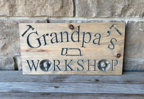 Grandpa's Workshop Carved Wood Sign | Engraved Wood Sign | Personalized Wood Gifts