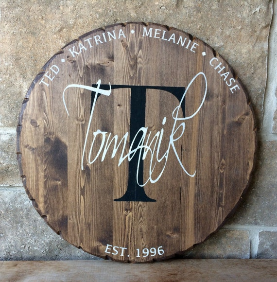 Personalized Wood Wall Sign, round wood sign, family sign, monogram