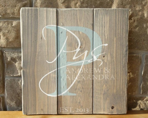 Wood Family sign, Monogram Sign, Personalized