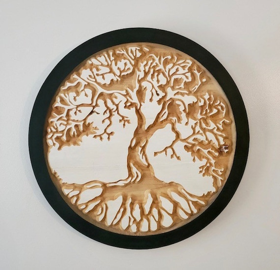 Round Wood Carved Tree of Life Wall Hanging, Ready to Ship