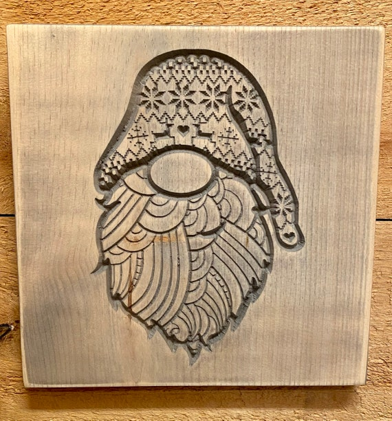 Christmas Gnome Carved Wood Wall Hanging