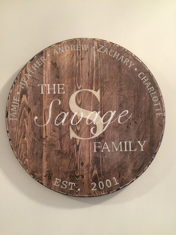 Personalized Wood Sign, Family Fign, Monogram, Round Wood Sign