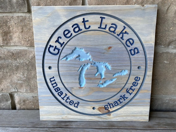 Great Lakes, Great Lakes Unsalted Shark Free Carved Wood Wall Hanging