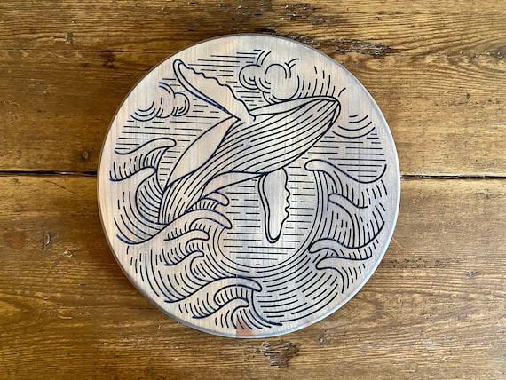 Round Wood Engraved Whale Wall Hanging, Ready to Ship