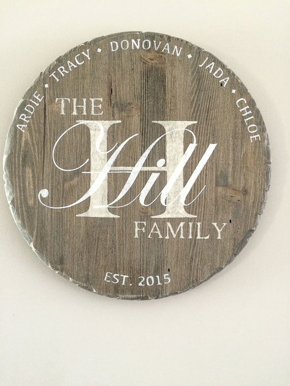 Personalized Sign, Monogram, Wood Family Sign, round wood sign