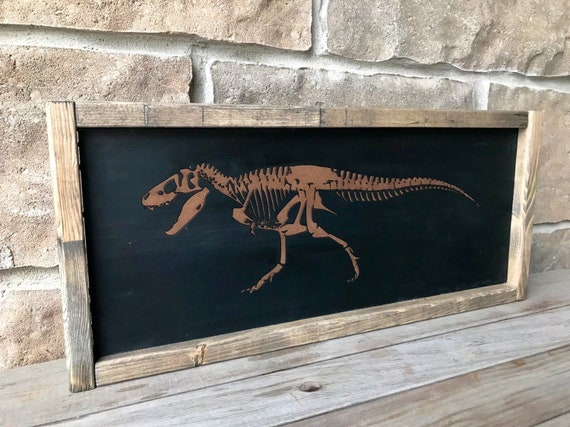 Set of 4 Engraved Dinosaur Wall Hangings
