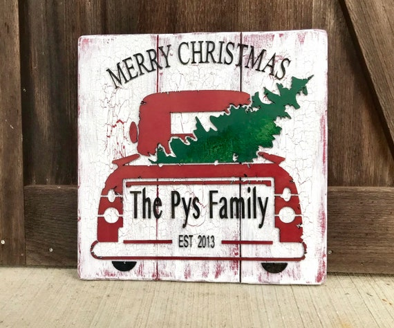 Personalized Christmas Sign, Christmas decoration, rustic sign