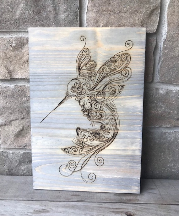 Engraved Hummingbird Wood Wall hanging