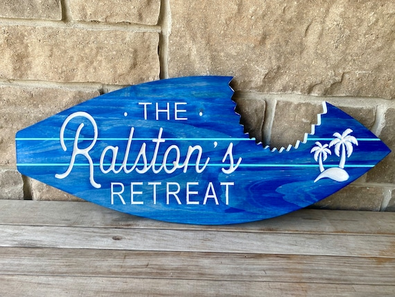 Personalized Carved Wood Surfboard With Shark Bite Detail | Surfboard Sign |