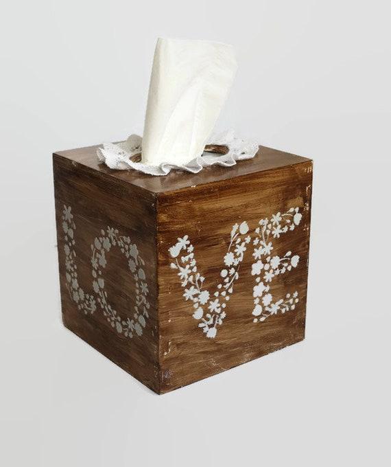 prix attractif qualité de la marque une grande variété de modèles Boîte de mouchoirs housse amour mariage thème mariage cadeau boîte Shabby  chic boîte style romantique en bois tissu boîte mariage rustique amour  boite ...