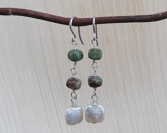 Chrysoprase and Pillow Pearl Earrings