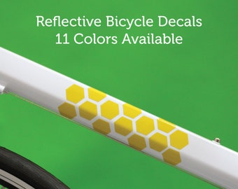 Reflective Bicycle Decals and Bike Helmet Stickers Honeycomb Velosight™ - 11 color options to match bike accessories