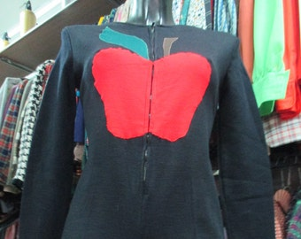 Tutina jersey anni 60/ con mela.Fondo magazzino.Tg 44/Amzing 60s black jersey short jumpsuit with big apple in front/Deadstock/Size 8-10 US