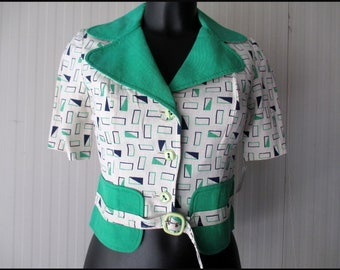Giacchino anni 60.Bianco verde-blu.Lino.Tg S/60s cropped jacket/White, green&blue/Green lapels/Faux belt/Small plastic buckle/Linen/Size S