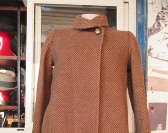 Late 70s flared 3 4 coat Pure wool Mandarin collar Silak brand Size  S Giacca 3 4 cammello fine anni 70 Svasata Pura lana Collo coreana Tg fe138d2c873
