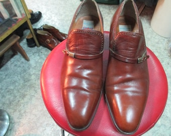 Scarpe pelle anni 70.Made in En gland by Berrows.Tg 42 Super 70s caramel  brown shoes Genuine leather Made in England by Berrows Size 8 efc10517a679