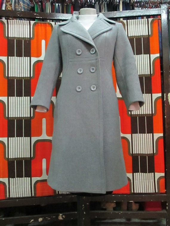70s doublebreasted grey coat Woollen cloth coat Big lapels by  8ab4c06f79f