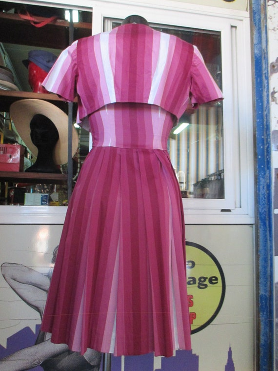 50s cherry dress outfit/Pleated dress and shrug/S… - image 9