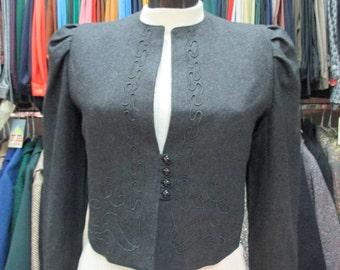 Blazer in loden grigio con ricami. Anni 60 tirolese.Tg.42/ 60s loden grey tyrolean blazer/Embroidery/ Pure wool/Deadstock/Size 6 US/38 EU