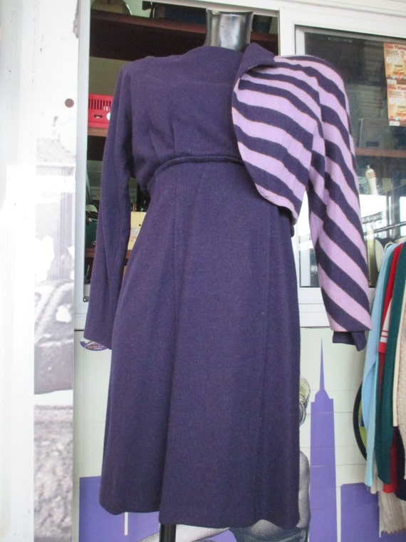 80s angora wool dress suit/Purple/Light violet st… - image 3
